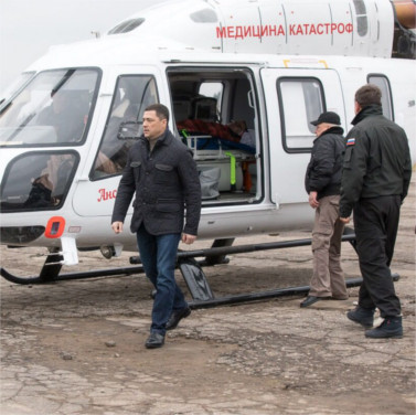 RUSSIAN HELICOPTER SYSTEMS HELICOPTERS PERFORMS THE MEDICAL EVACUATION OF 74 PEOPLE IN THE PSKOV REGION